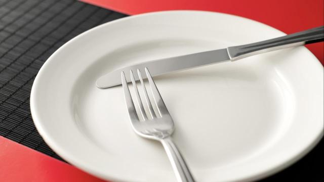 empty plate with fork and knife