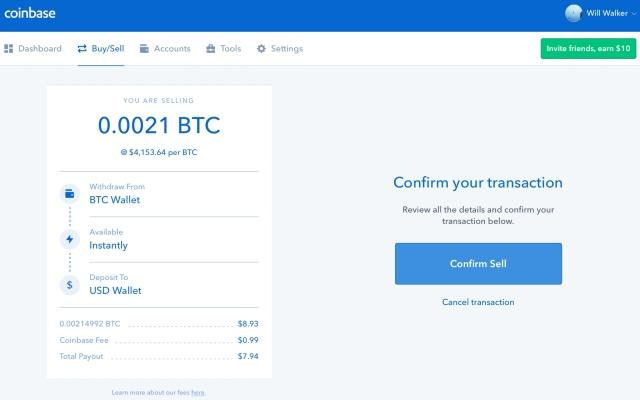 Coinbase - Confirm Sell
