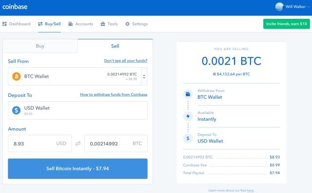 Coinbase - Sell