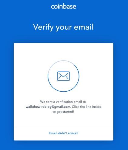 Coinbase - verify email